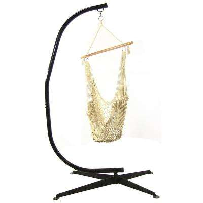 Cotton Rope 48 in. Hanging Hammock Chair with C-Stand
