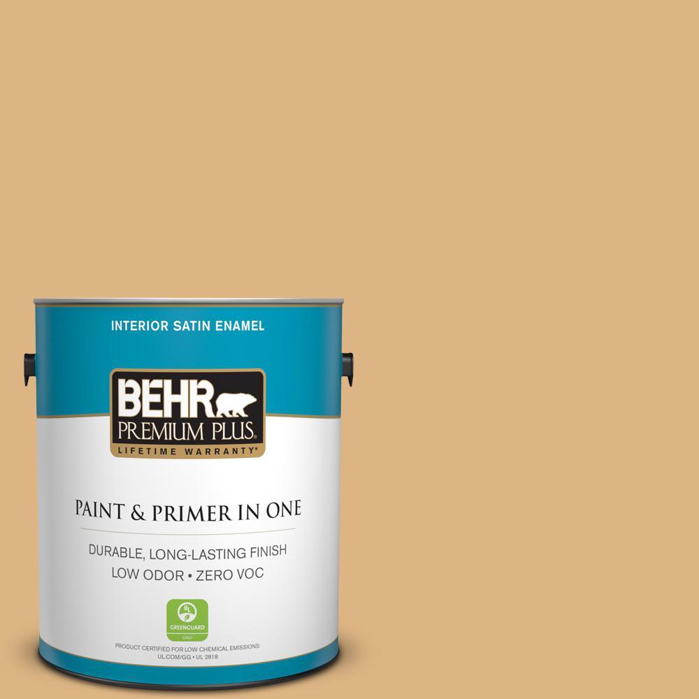 BEHR Premium Plus Home Decorators Collection 1-gal. #HDC-CL-18 Cellini Gold Zero VOC Satin Enamel Interior Paint