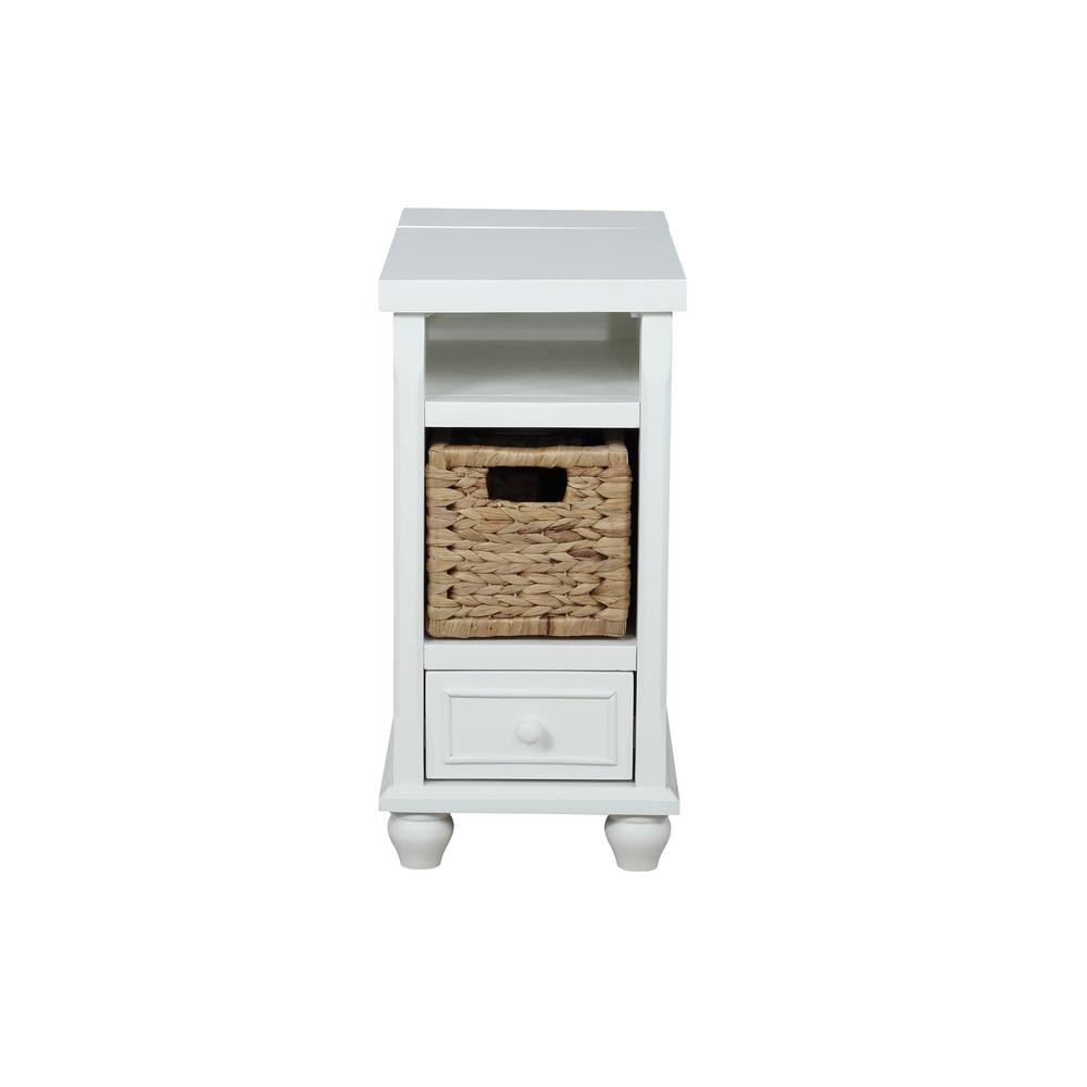 Cottonwood 24 in. White End Table with Basket
