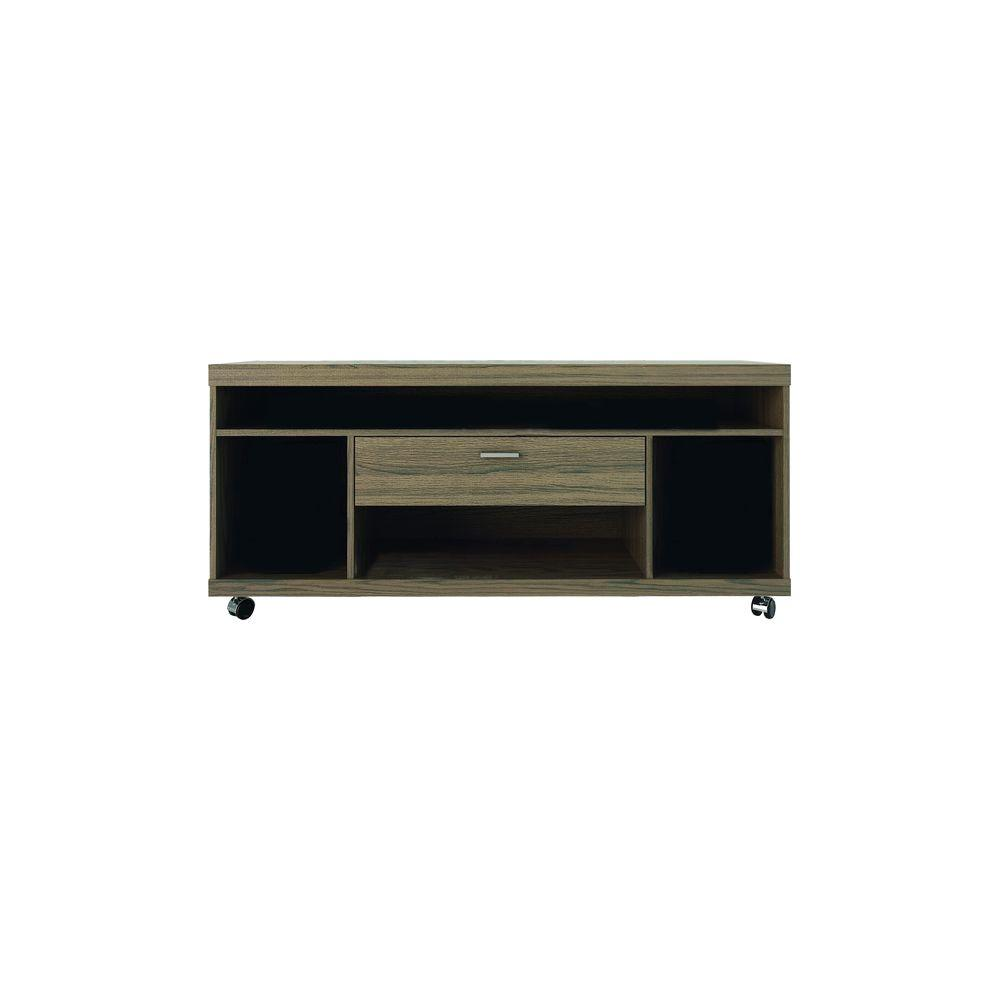 Manhattan Comfort Ansonia 4-Shelf, 1-Drawer TV Stand in Chocolate/Pro Touch