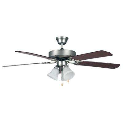 52 in. Brushed Nickel Down Rod Mount Ceiling Fan with Light