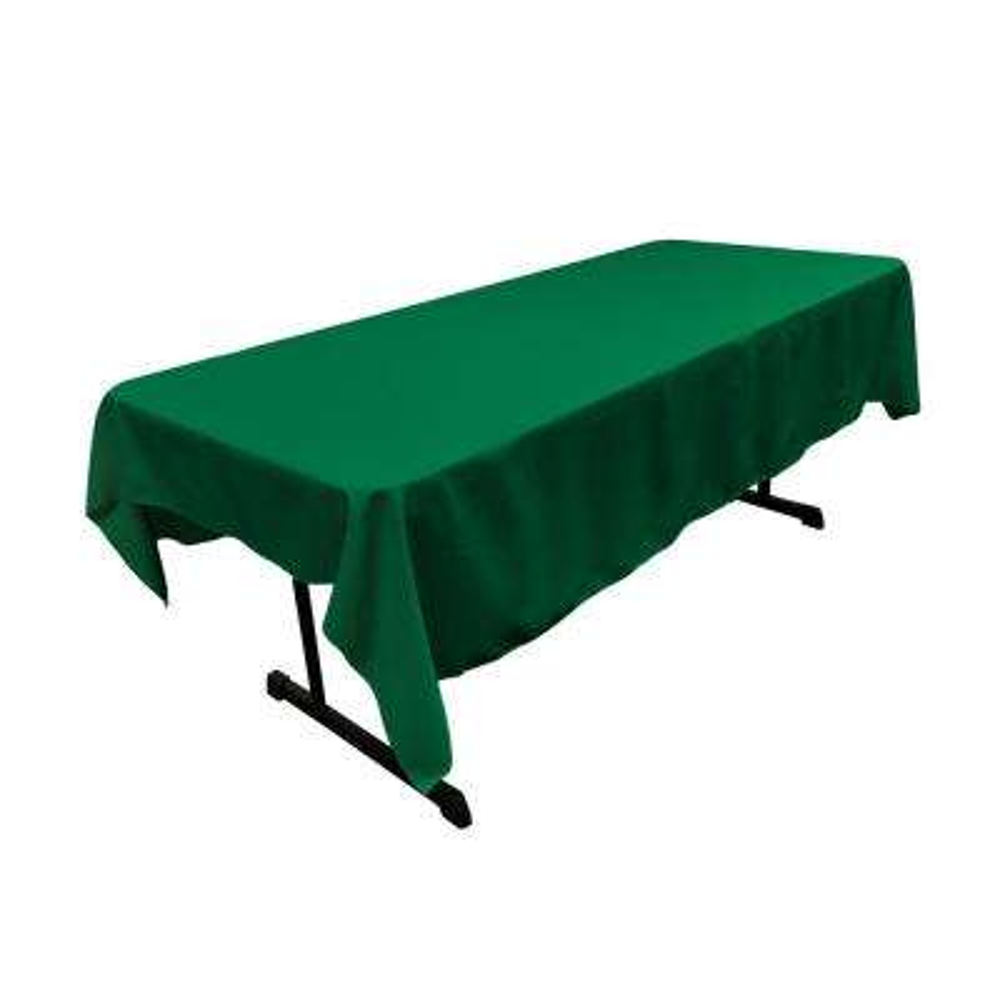 60 x 90 in. Emerald Green Polyester Poplin Rectangular Tablecloth