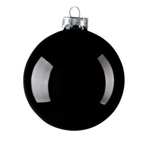 2 in. Black Shiny Glass Christmas Ornament (28-Pack)