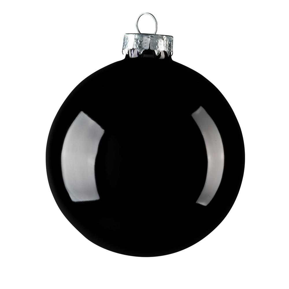 Black Christmas Ornaments.Whitehurst 2 75 In Black Shiny Glass Christmas Ornament 12 Pack