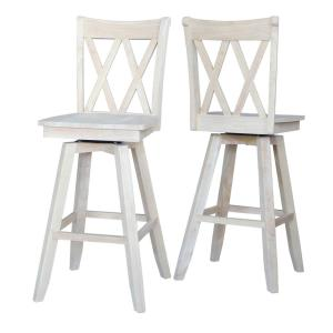 Remarkable Double X Back 30 In Unfinished Wood Swivel Bar Stool Bralicious Painted Fabric Chair Ideas Braliciousco