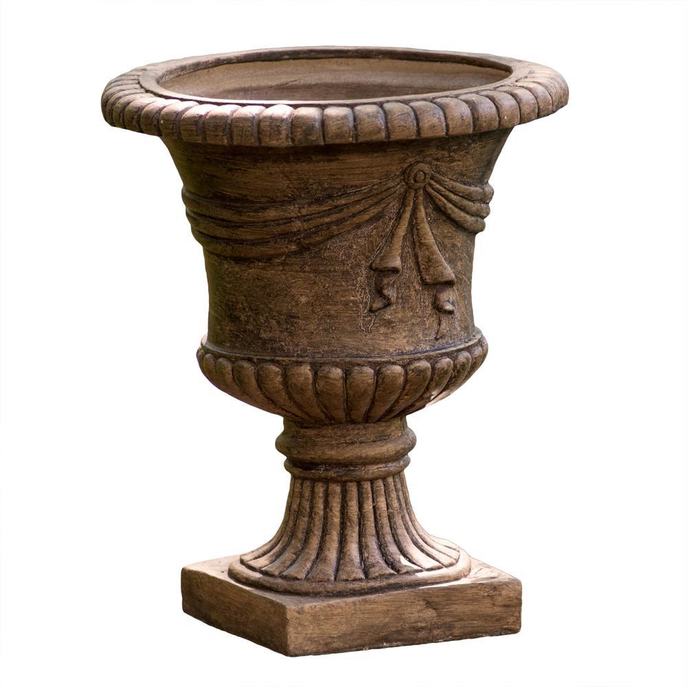 20 in. Light Brown Stone Antique Clay Zeus Urn Planter