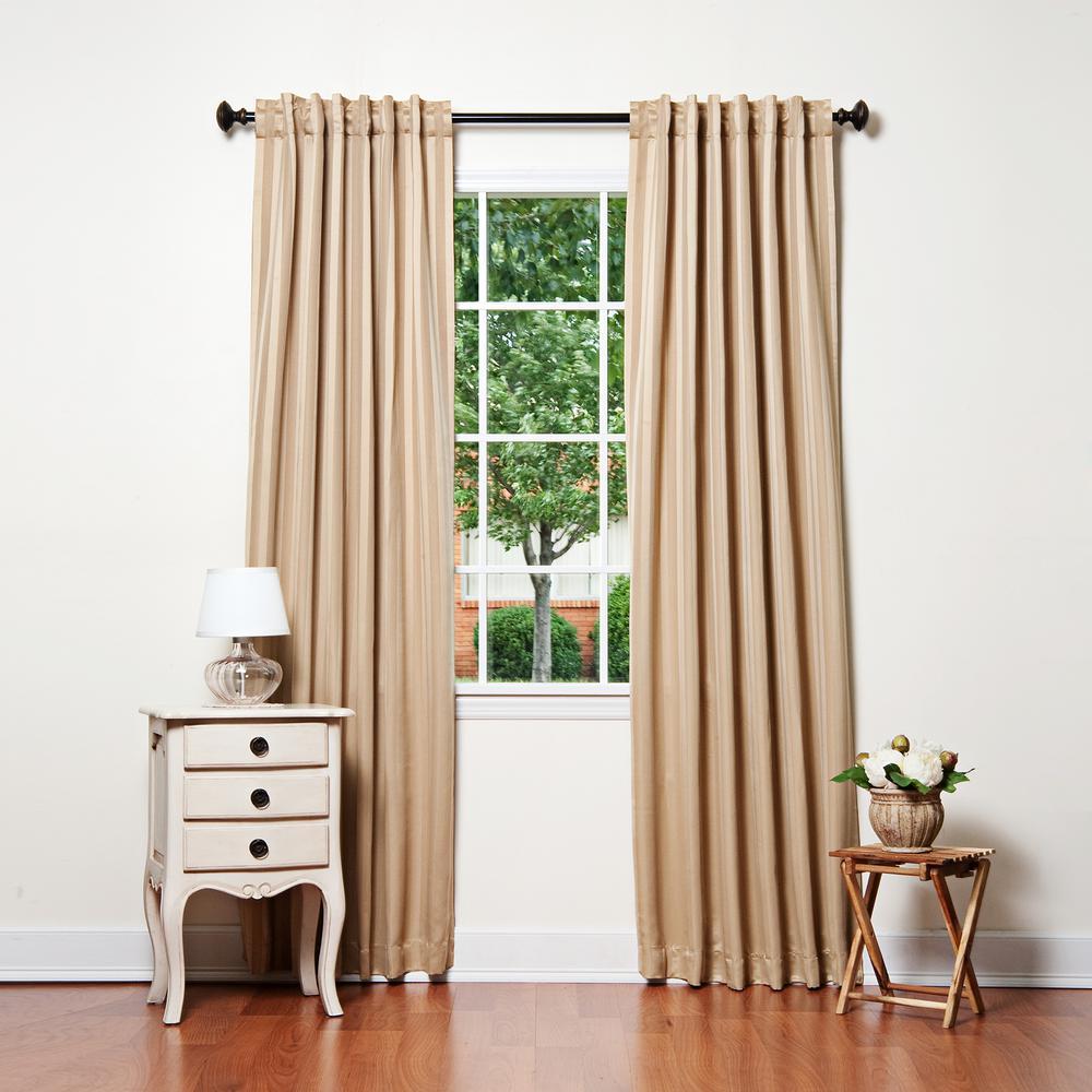 84 in. L Gold Satin Stripe Blackout Curtain (2-Pack)