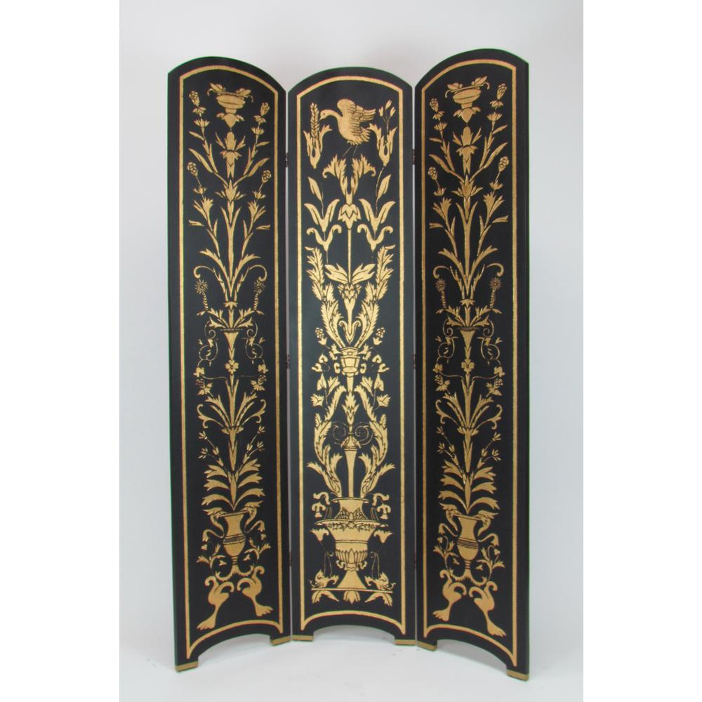 H Black And Gold 3 Panel Room Divider With Clic Golden Scroll