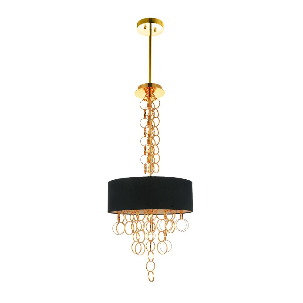 CWI Lighting Chained 4-Light Gold Chandelier with Gold shade
