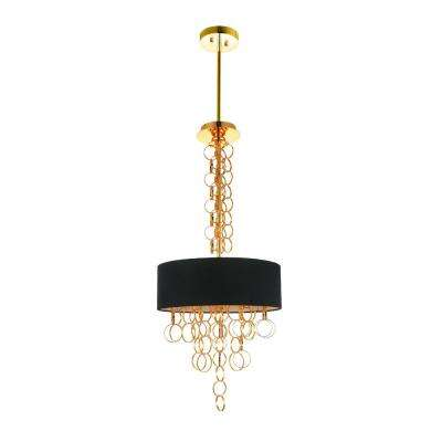 Chained 4-Light Gold Chandelier with Gold shade