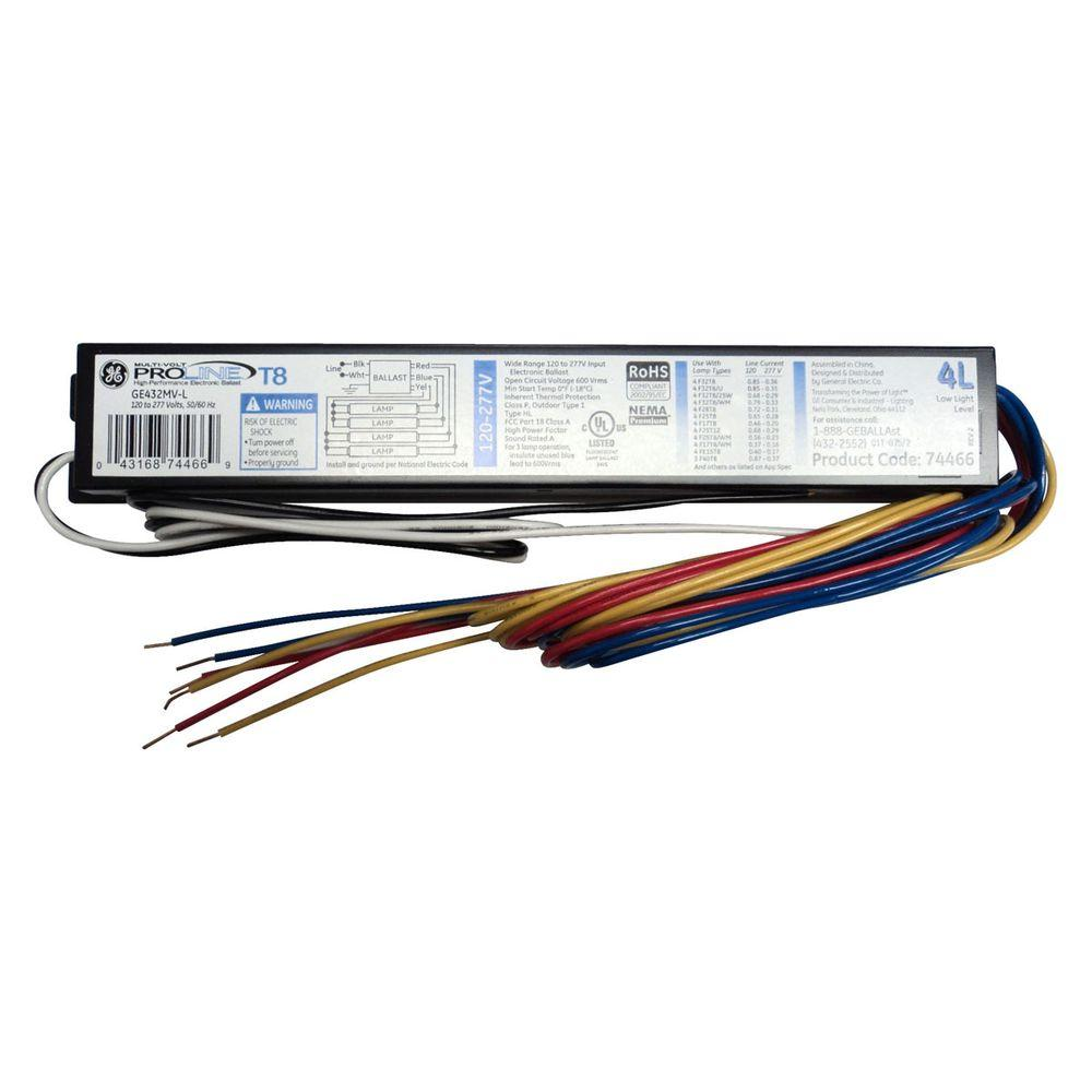 Delightful GE 120 To 277 Volt Electronic Low Power Factor Ballast For 4 Ft. 4