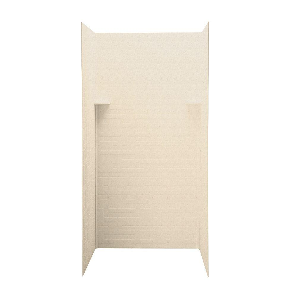 Swanstone Geometric 36 in. x 36 in. x 72 in. Three Piece Easy Up Adhesive Shower Wall Kit in Tahiti Sand-DISCONTINUED