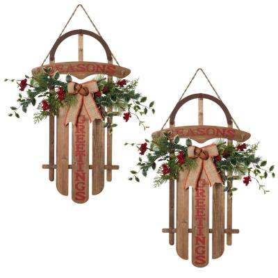 4 in. H Wood Hanging Sleds (Set of 2)