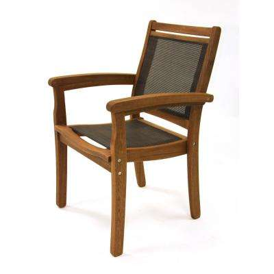 Stackable Eucalyptus and Sling Outdoor Dining Chair