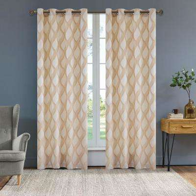 Rivoli 95 in. L x 54 in. W Semi-Opaque Room Darkening Polyester Curtain in Sand