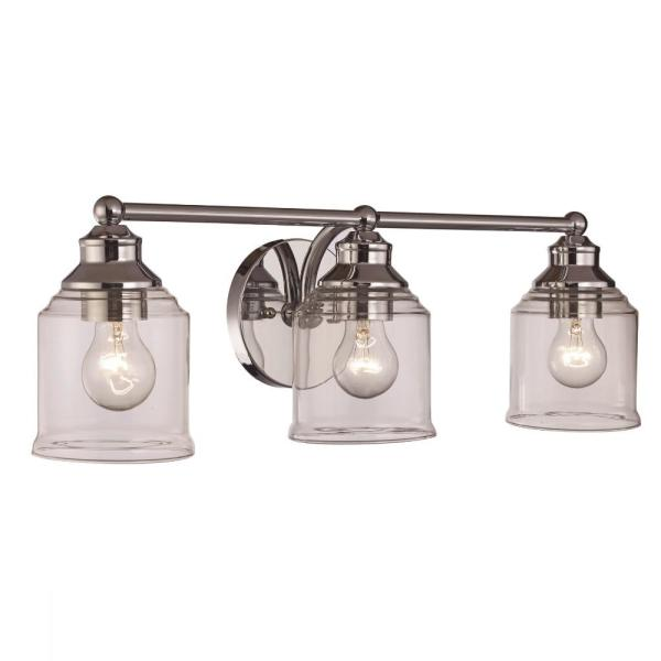 23 in. 3-Light Polished Chrome Vanity Light with Clear Glass Shades