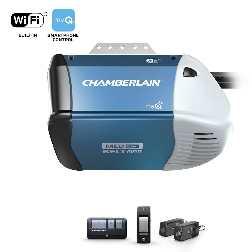 Chamberlain 1 2 Hp Equivalent Ac Belt Drive Smart Garage Door Opener With Medium Lifting Power B353 The Home Depot