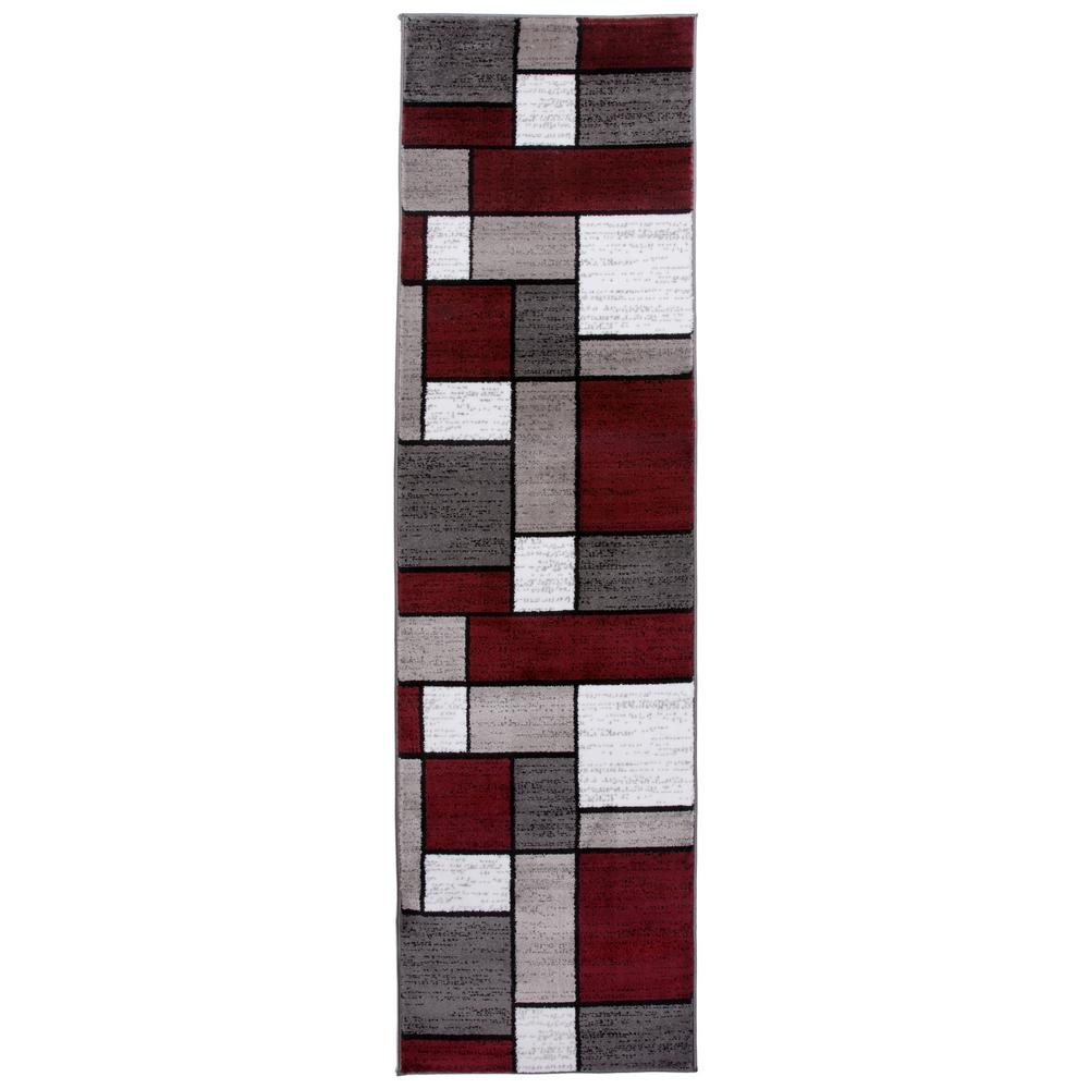 World Rug Gallery Contemporary Geometric Boxes Red Runner Rug 2 Ft X 7 Ft 2 In 106red2x8 The Home Depot