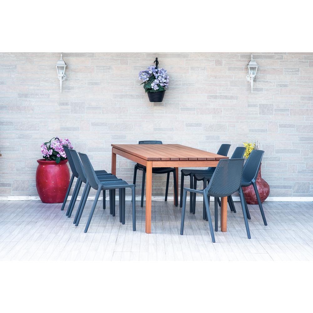 Alec 9-Piece Wood Rectangular Outdoor Dining Set