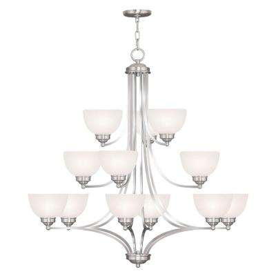 6-Light Brushed Nickel Chandelier with Satin Glass Shade