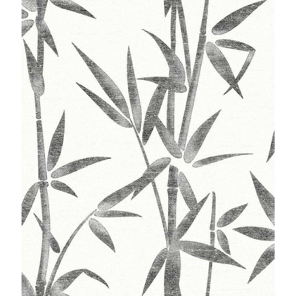 56.4 sq. ft. Catasetum Black Bamboo Wallpaper