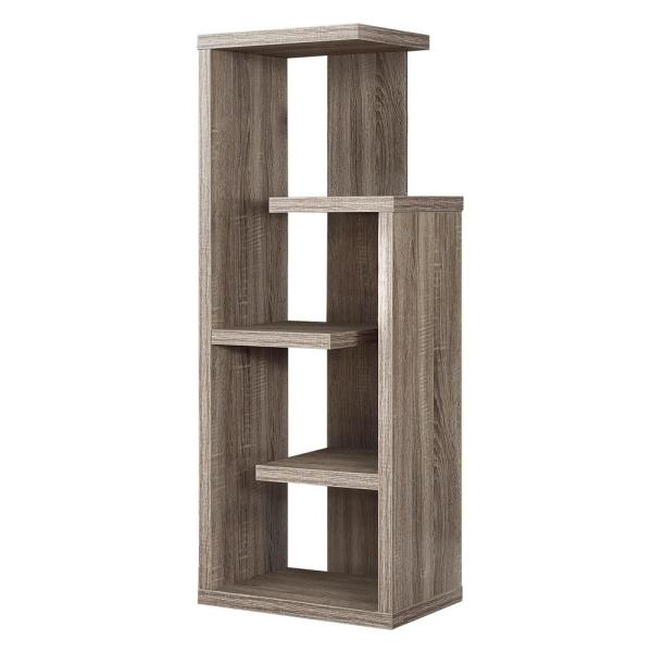 48 in. Dark Taupe with 4-Shelves Composite Bookcase