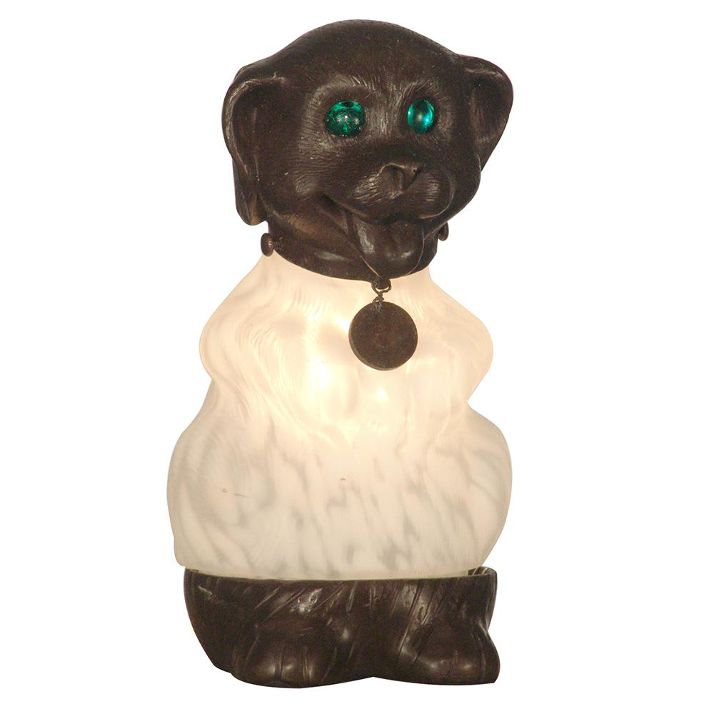 8.5 in. Antique Bronze Dog Accent Lamp with Blown Glass Shade