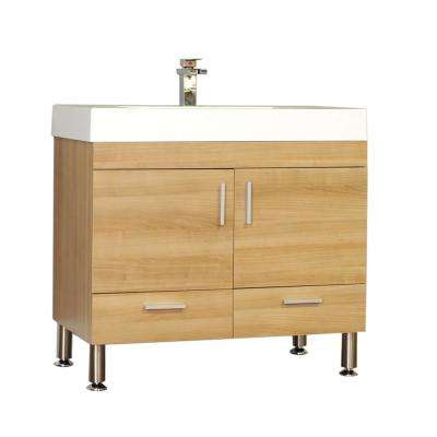 The Modern 35.375 in. W x 18.75 in. D Bath Vanity in Light Oak with Acrylic Vanity Top in White with White Basin