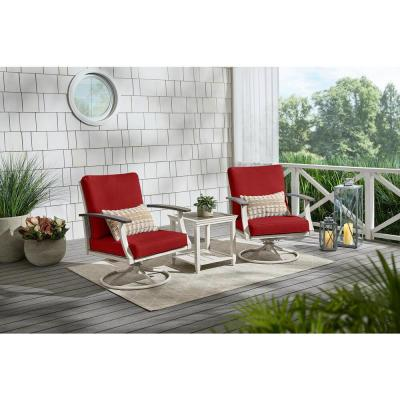 Marina Point White Steel Outdoor Patio Swivel Lounge Chair with CushionGuard Chili Red Cushions (2-Pack)
