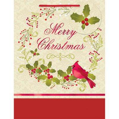 9 in. x 7 in. x 4 in. Traditional Christmas Cardinal Hot Stamped Bags (18-Pack)
