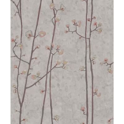 Grey Plum Branches Wallpaper