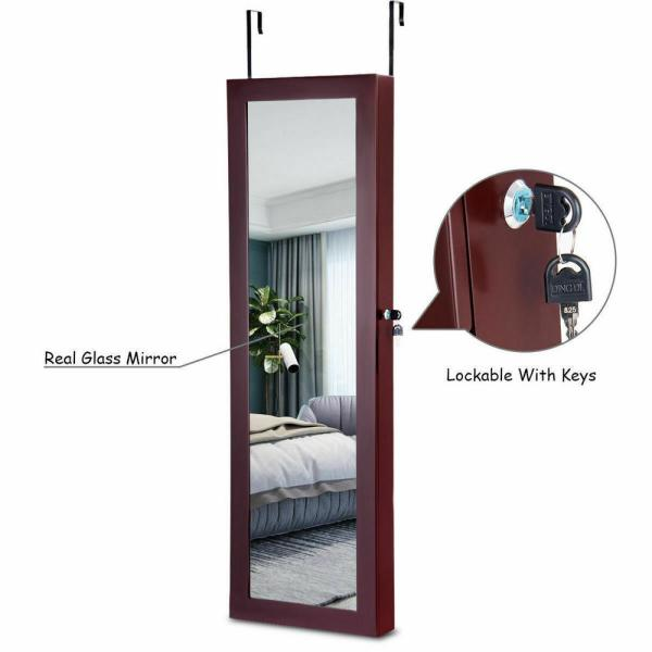 Lockable Mirror Jewelry Cabinet Armoire Organizer Wall Door Mounted with LED Lights