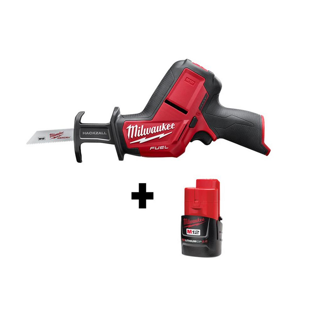 Milwaukee M12 FUEL 12-Volt Lithium-Ion Brushless Cordless HACKZALL Reciprocating Saw w/ M12 2.0Ah Battery