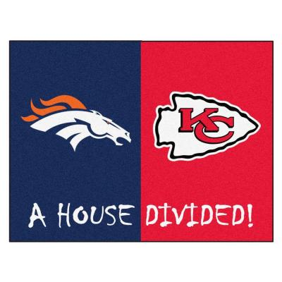 NFL Broncos / Chiefs Navy House Divided 3 ft. x 4 ft. Area Rug