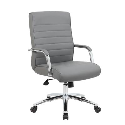 High Back Desk Chair. Grey vinyl. Chrome finish frame and base. Ribbed Styling Cushion. Padded Arms. Pnuematic Lift.