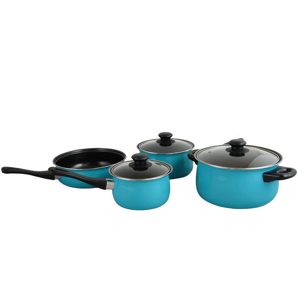 Chef Du Jour 7-Piece Aqua Blue Cookware Set