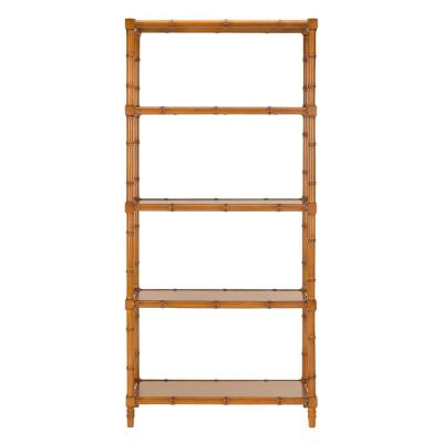 78 in. Brown Bamboo 4-shelf Etagere Bookcase with Open Back