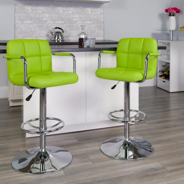 Flash Furniture 33.25 in. Adjustable Height Green Cushioned Bar Stool