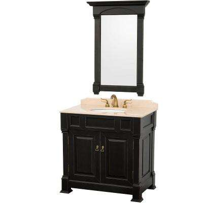 Andover 36 in. Vanity in Antique Black with Marble Vanity Top in Ivory and Mirror