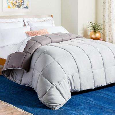 Reversible Stone/Charcoal Down Alternative Oversized King Quilted Comforter