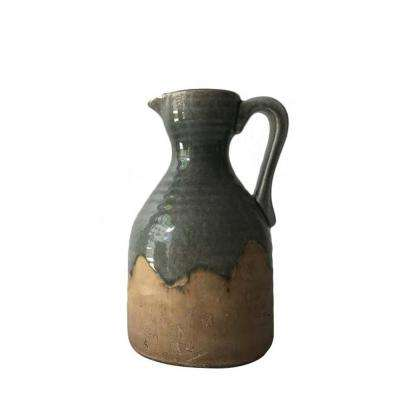 11 in. Green Ceramic Pitcher Vase