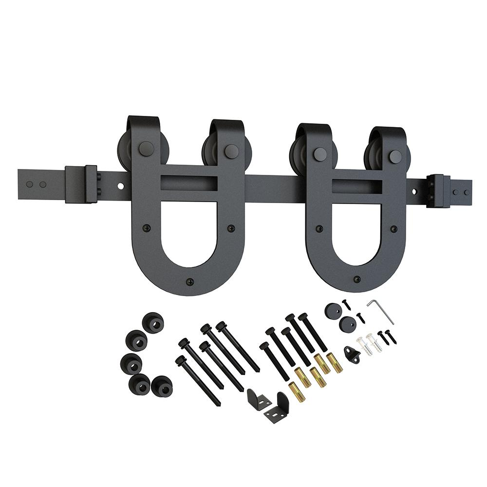 Black Solid Steel Sliding Rolling Barn Door Hardware Kit for Single