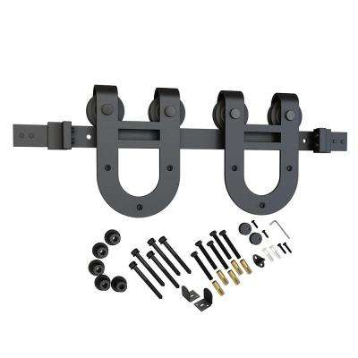 Black Solid Steel Sliding Rolling Barn Door Hardware Kit for Single Wood Doors With Non-Routed Adjustable Floor Guides