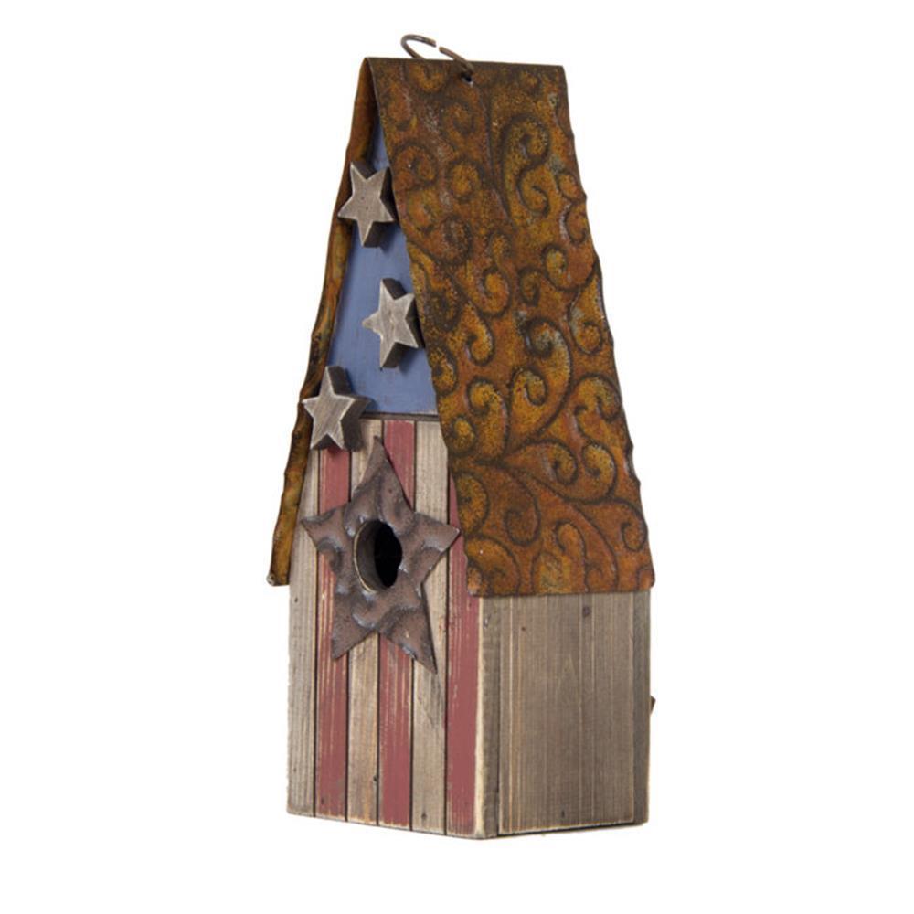12.4 in. H Solid Wood/Metal Rustic Birdhouse