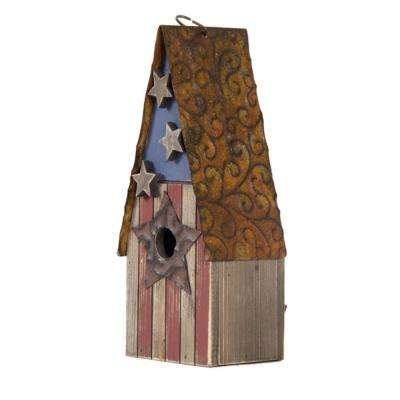 12.4 in. H Solid Wood/Metal Rustic Birdhouse