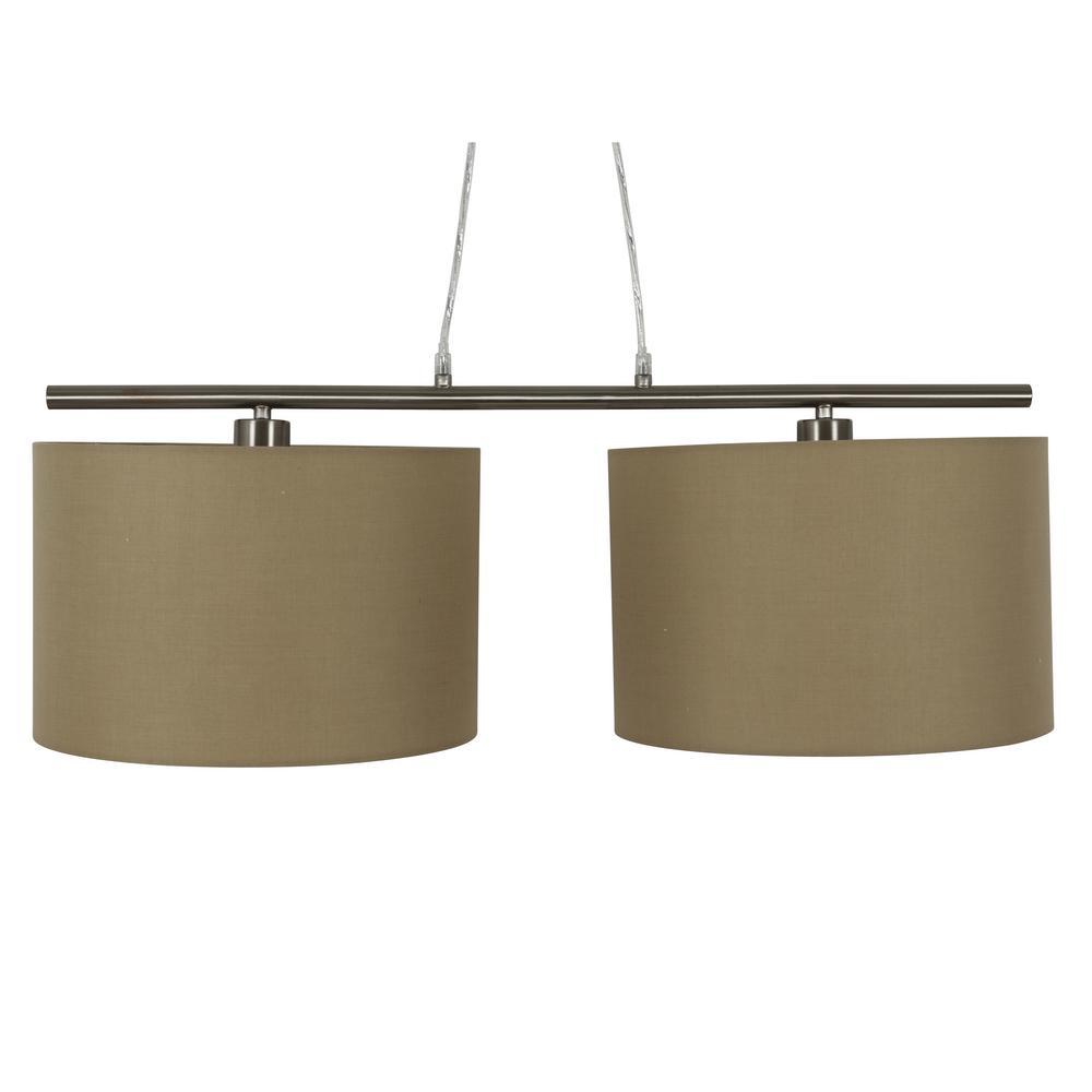 Kloss Satin Nickel 2-Drum Shade Integrated LED Pendant Light
