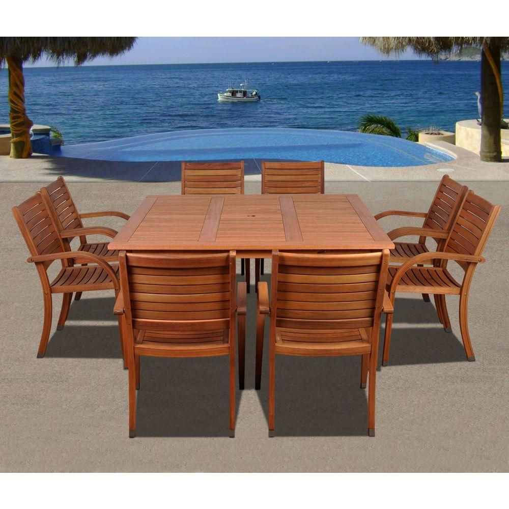Arizona Square 9-Piece Eucalyptus Patio Dining Set
