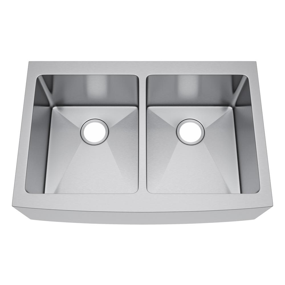 All In One Farmhouse Stainless Steel 33 In. 50/50 Double Bowl