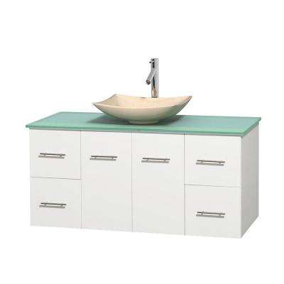 Centra 48 in. Vanity in White with Glass Vanity Top in Green and Sink