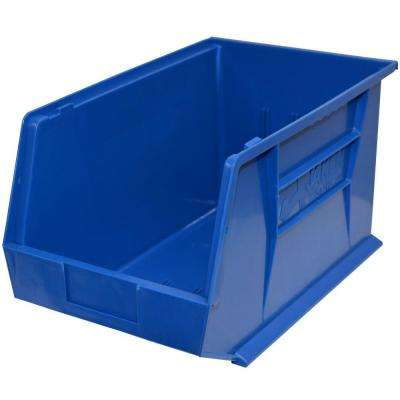 11 in. W x 18 in. D x 10 in. H Stackable Plastic Storage Bin in Blue (4-Pack)